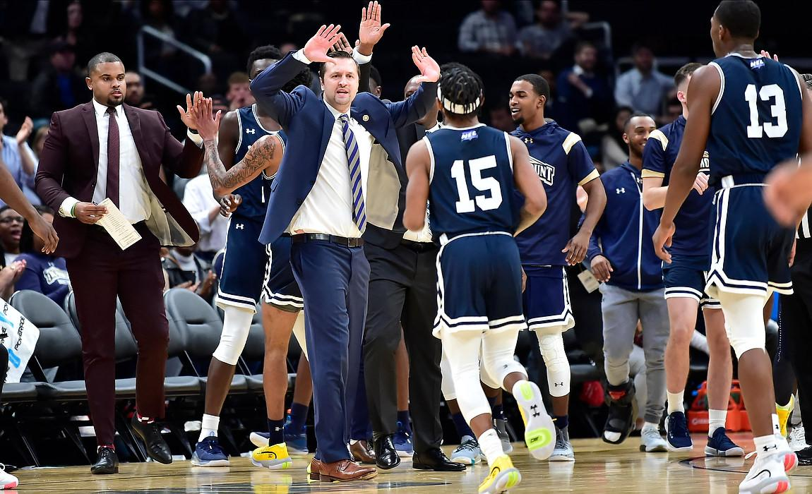 Strong Second Half Helps Mount Men's Basketball Stun Bryant