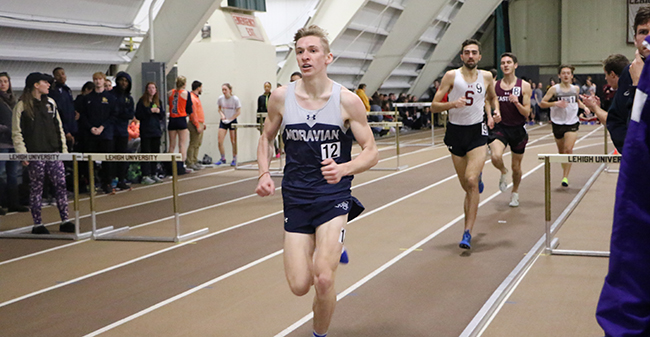 Sophomore Greg Jaindl in the men's 3000-meter run.