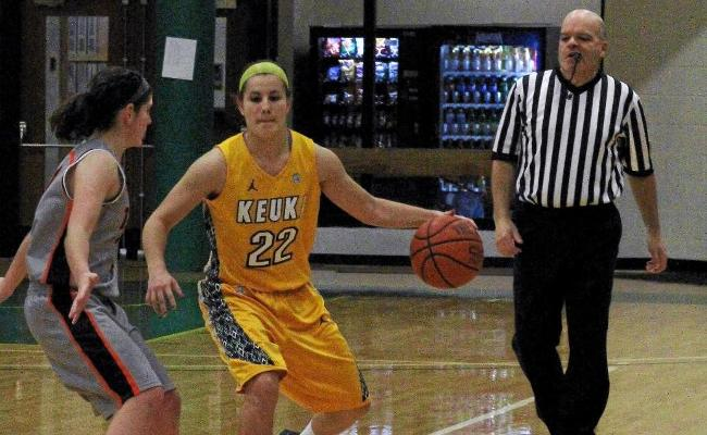 Junior Mackenzie Cole hit two clutch free throws late to clinch a 48-44 win over Bryn Athyn Sunday (photo courtesy of Ed Webber, Keuka College Sports Information department).
