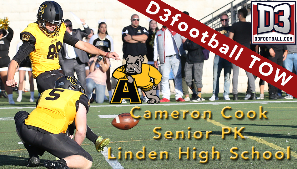 Cameron Cook is Adrian's most prolific scorer ever at the kicker position. (Action photo by Mike Dickie)