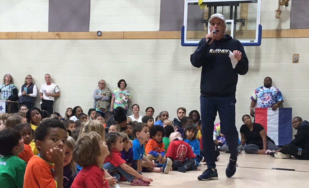 Coach Curtin Addresses Students At The Children's School