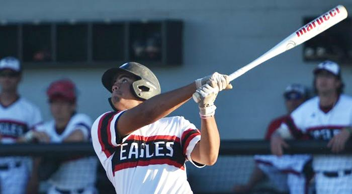 Isaiah Cullum had a single, a double, and two RBI against Hillsborough. (Photo by Tom Hagerty, Polk State.)