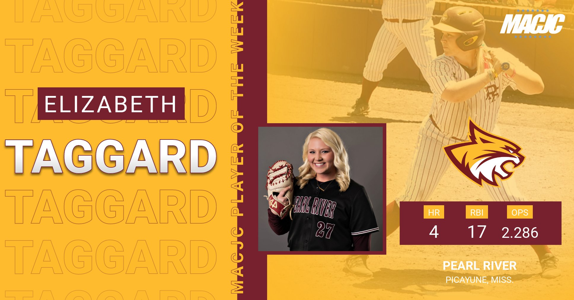 Pearl River's Elizabeth Taggard named MACJC's Player of the Week