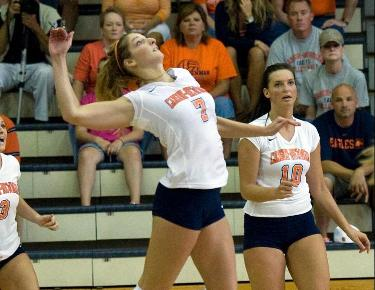 Competitive Eagles fall in four sets to No. 9 Wingate