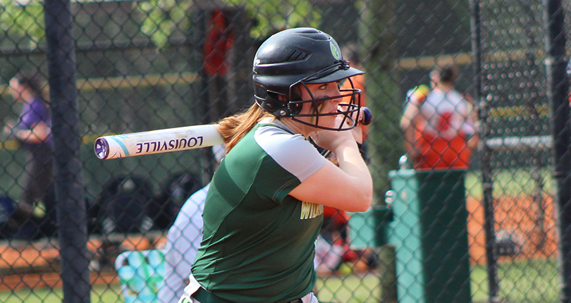 Senior Becca Carpenter had four RBI, including a three-run home run to help Wilmington record the OAC split. (Wilmington Athletic Communications photo)