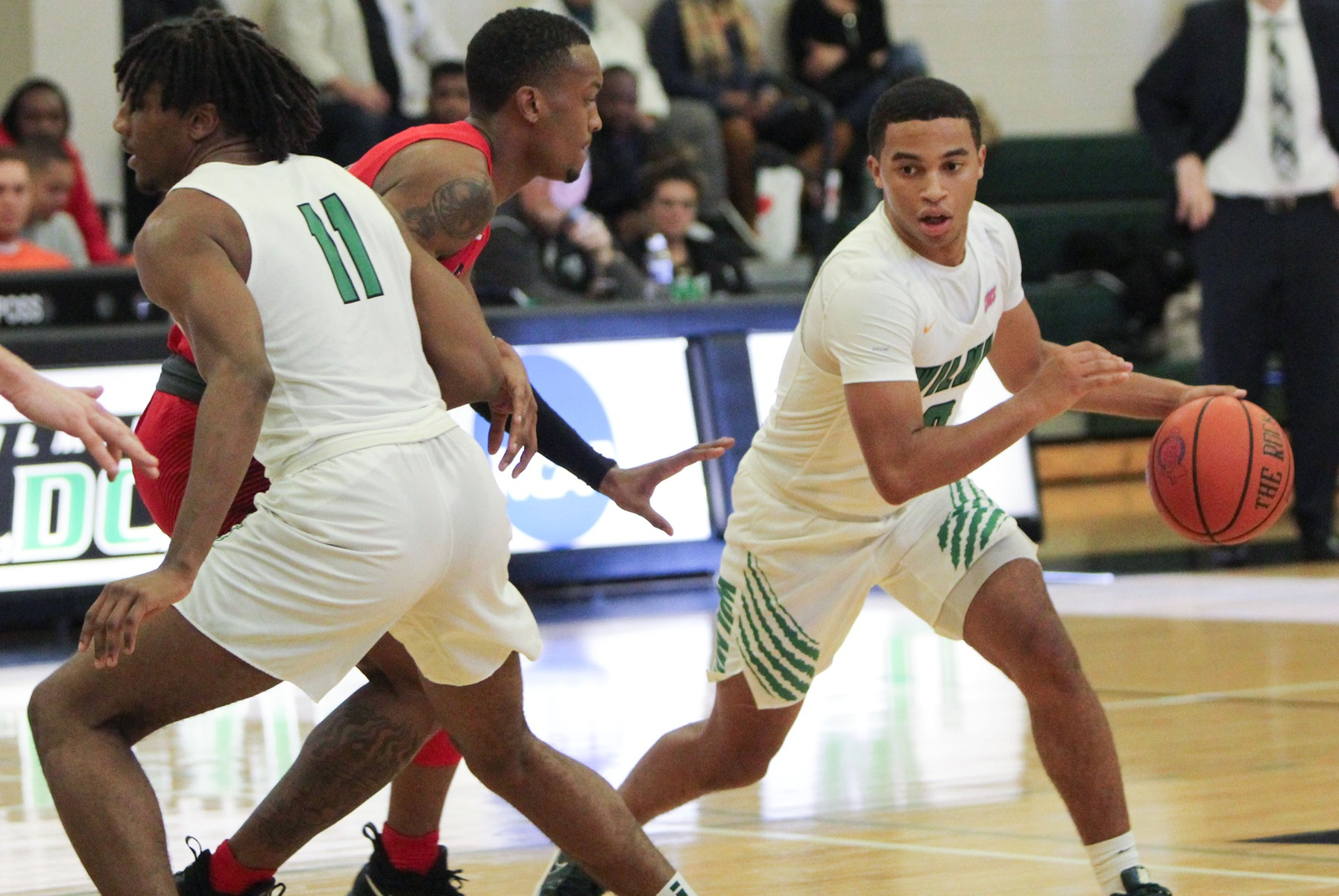 File photo of Tyler Norwood who scored 17 points off the bench at UDC. Copyright 2019; Wilmington University. All rights reserved. Photo by Samantha Kelley. November 16, 2019 vs. Shippensburg.
