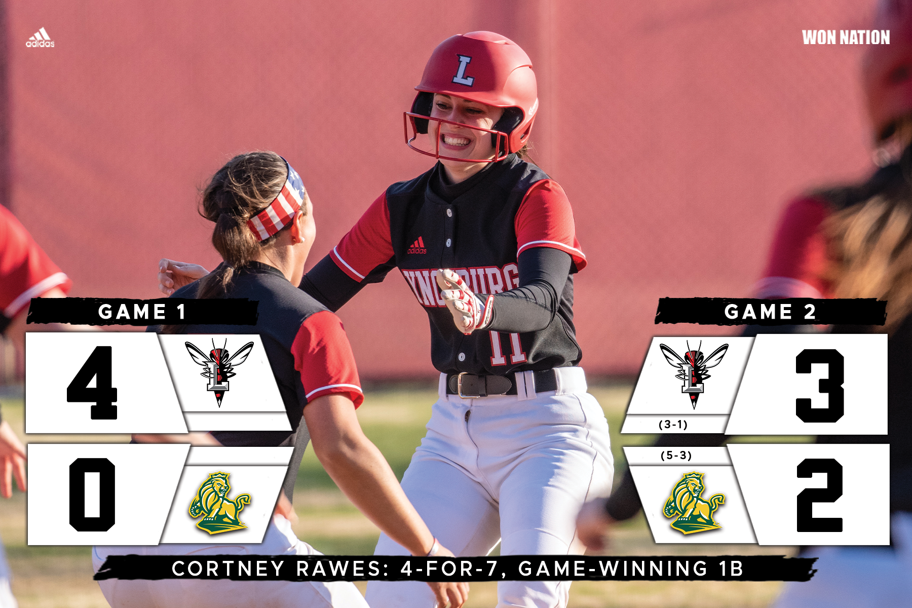 Cortney Rawes celebrates a game-winning hit with teammates
