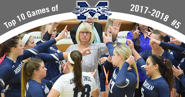 No. 5 on the Top 10 Exciting Games of 2017-18 is women's volleyball sweeping final day of regular season to clinch postseason berth and Head Coach Shelley Bauder's 500th career win.
