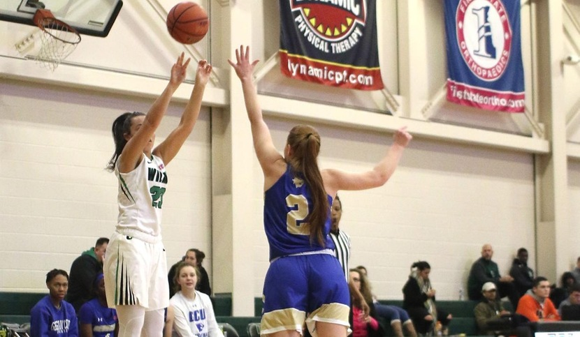 Copyright 2018; Wilmington University. All rights reserved. Photo of Macy Robinson hitting one of her six three-pointers against Georgian Court, by Frank Stallworth. January 6, 2018 vs. Georgian Court.