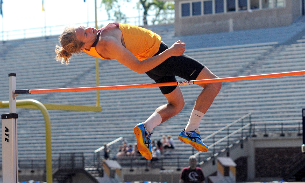 Senior Hans-Kristof Nelson clears the high jump bar at 5-08.50 at the MIAC decathlon. The height was a season best for Nelson. Photo courtesy of Carleton Sports Information