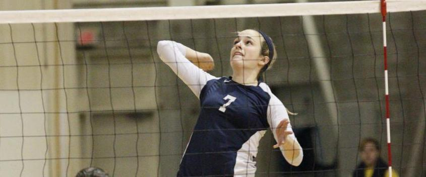 Liz Hood '15 had a season-high .682 hitting percentage in the ECAC quarterfinal win over Albertus Magnus (photo by Mike Broglio for Sportspix)