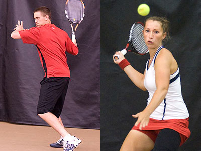 Justin Hermes (left), Tiffany Rheynard (right) and the Bulldogs open spring season action at home on Saturday