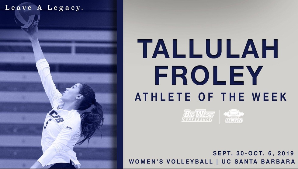 Froley Earns Big West Freshman of the Week Honors
