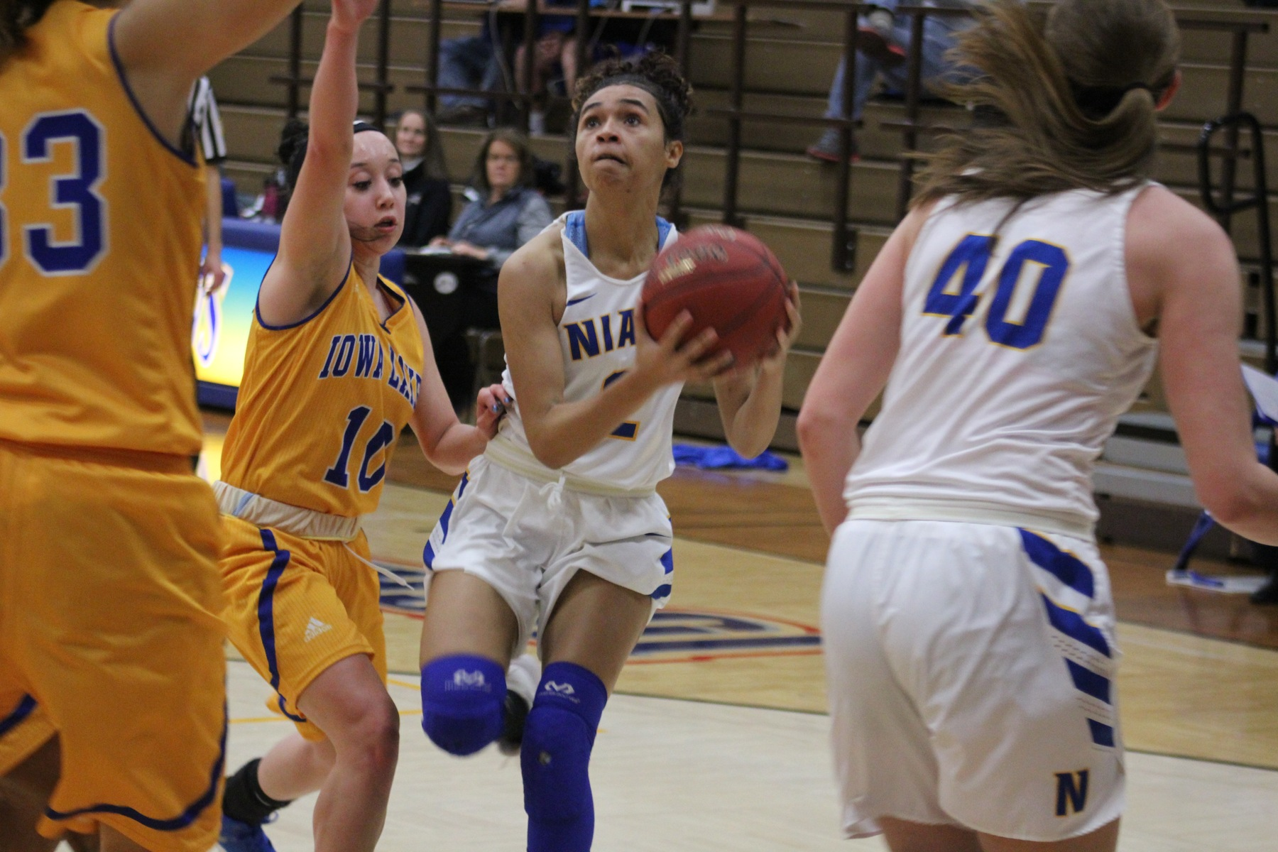 NIACC's Mikayla Homola drives to the basket for a layup in the first half of Wednesday's game against Iowa Lakes.