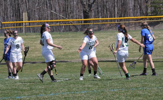 Sydney Forshay (center, being congratulated after scoring) scored a career-high six points as the Keuka College women's lacrosse team stayed perfect in the NEAC with a 20-1 win vs. Penn State-Abington (photo courtesy of Ed Webber).
