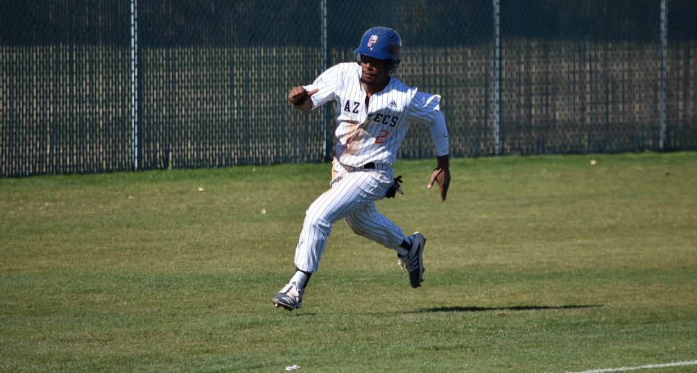 Sophomore JJ Rollon (Skyline HS) went 1 for 2 with two runs scored in the first game but the No. 7 ranked Aztecs baseball team was swept at South Mountain Community college 7-5 and 15-1. the Aztecs are now 13-2 overall and 2-2 in ACCAC conference play. Photo by Ben Carbajal