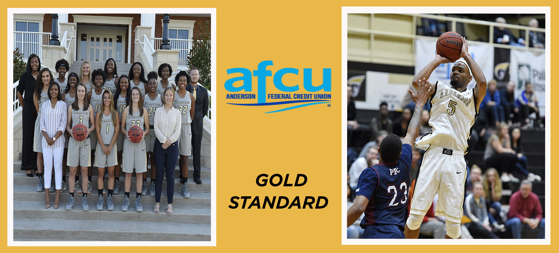 Men's Basketball's Gage Ellis and the Women's Basketball Team Named to the AFCU Gold Standard