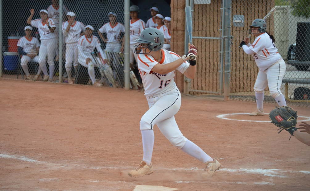 Sophomore Devynn Marshall (Shadow Ridge HS) hit the eventual game-winning home run in the 6th inning as she finished the day 4 for 6 at the plate. The Aztecs split with No. 11 Yavapai College and are now 27-26 overall and 23-23 in ACCAC play. Photo by Gabe Mendoza