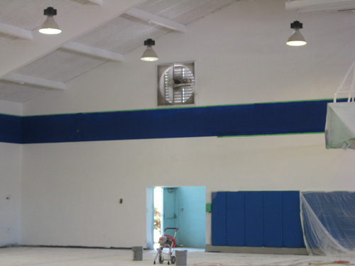 Boshamer Gymnasium receives a new paint job.