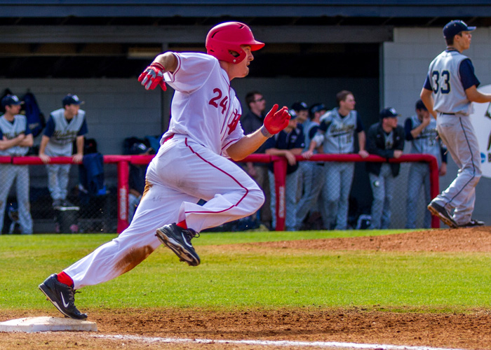 Jordan Criswell was 4-for-4 with a triple and five runs scored in Sunday's 13-5 win over North Carolina Wesleyan. (Photo by Christopher Morgan)