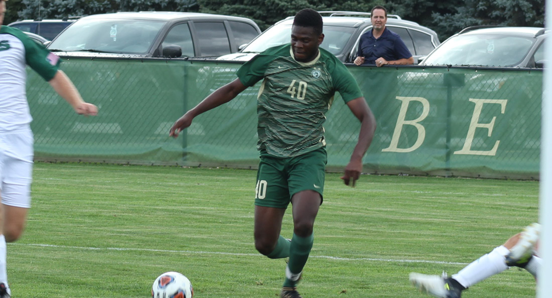 Ramiesh McKnight scored Tiffin's first goal in a narrow 3-2 double overtime loss at Cedarville.