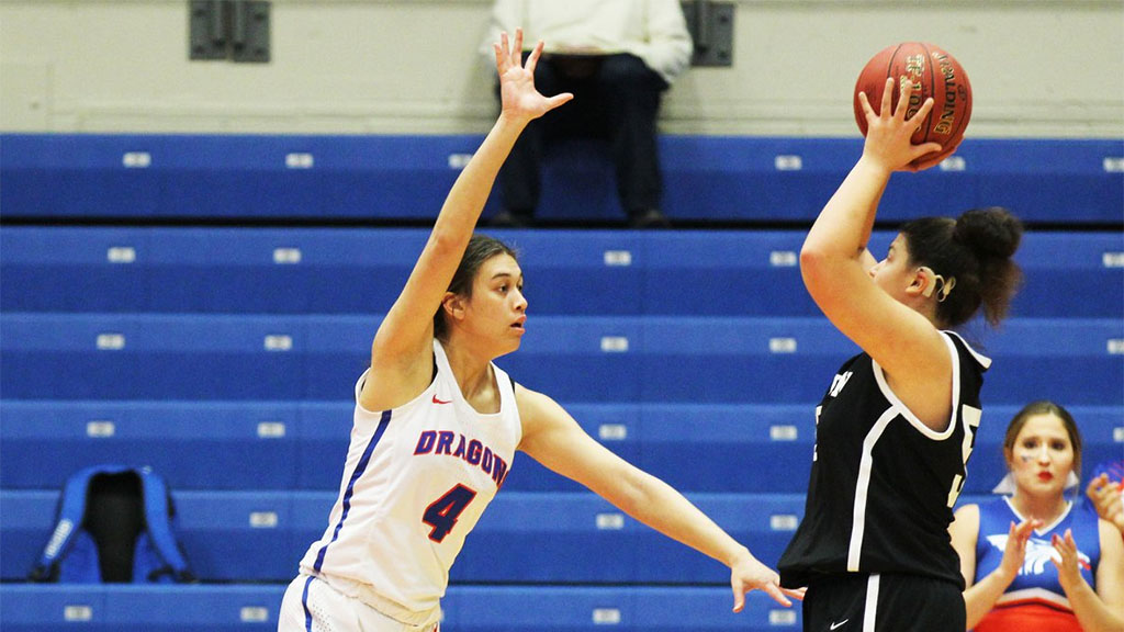 Brooklyn Betham had 11 points and nine rebounds in the No. 7 Blue Dragon women's basketball team's 66-58 loss to No. 8 New Mexico on Thursday in Council Bluffs, Iowa. (Bre Rogers/Blue Dragon Sports Information)