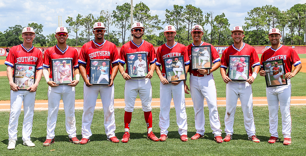 Florida Southern honored its eight seniors prior to the first game of Saturday's doubleheader. The senior class included (L-R); Ryan Frost, Pablo Cabrera, Isaiah Cullum, Cole Crowder, Jacob Kelley, Leo Rodriguez, Alex Goebel, and Alec Hammond.