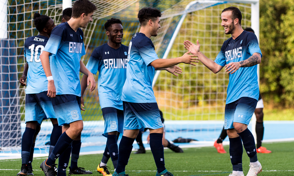 Three second half goals powers men's soccer into quarter-final