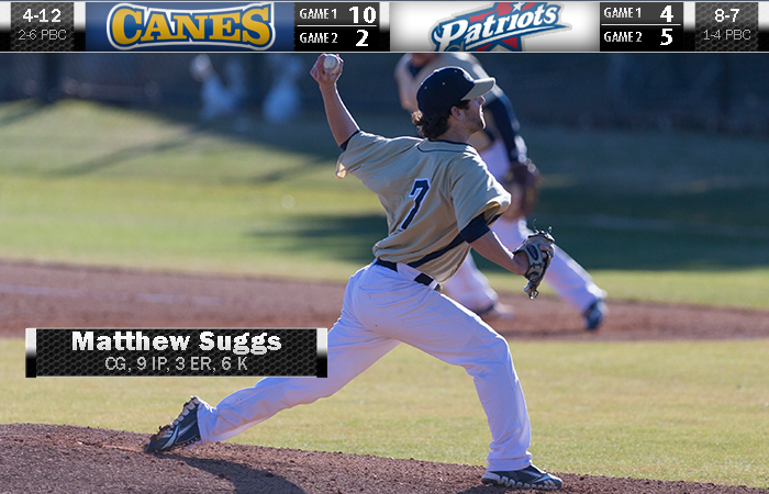 Suggs Gets Complete-Game Win; 'Canes Split DH At Francis Marion