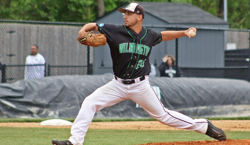 Copyright 2017: Wilmington University. All rights reserved. File photo of Zach Rumford who went 7.1 strong innings against Adelphi. Photo by Frank Stallworth. May 6, 2017.