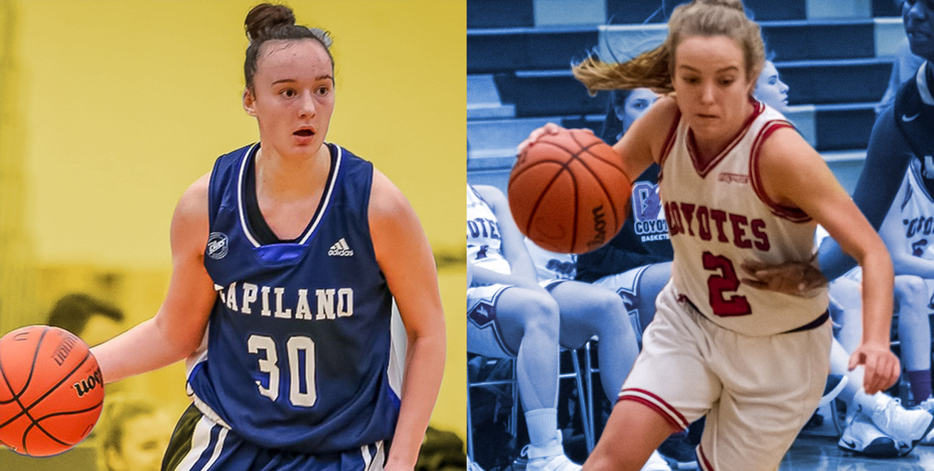 Kasey Patchell (on right) is the Kelowna point guard who starred with the Coyotes while Alessia Brutto was the Rookie of the Year in the PACWEST.
