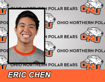 Senior Eric Chen wins two events to lead men's Swimming & Diving in loss at Case Western Reserve