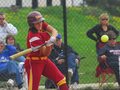 Senior Rhea Flores went 3-for-3 at the plate in the 12-2 win over the Lakers.  (Photo by Joe Gorby)