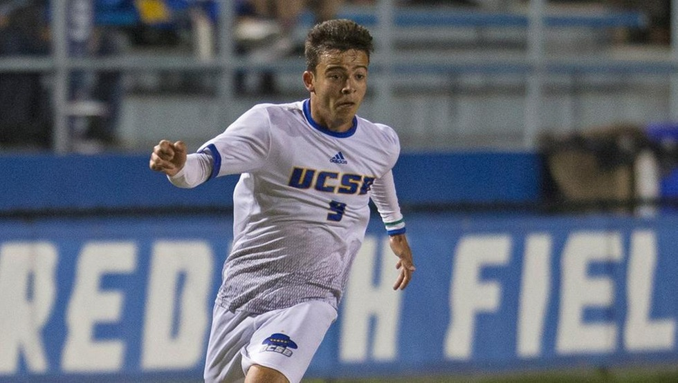 Rodney Michael scored the first goal of his collegiate career against Akron on Saturday night. (Photo by Eric Isaacs)