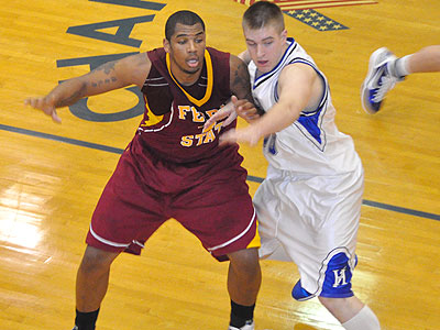 FSU's Justin Keenan works for position in Tuesday's game at Hillsdale (Photo by Rob Bentley)