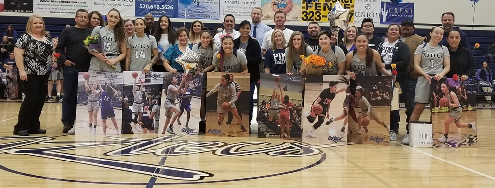 The eight sophomores on the women's basketball team were recognized after their 90-79 win over Phoenix College on Saturday. Left to right: Briana Gamillo, Brianna Pitre, Rhianna Bortoli, Shauna Bribiescas, Bryanne Olson, Hailey Goley, Jacqulynn Nakai and RyLeigh Long. Photo by Raymond Suarez