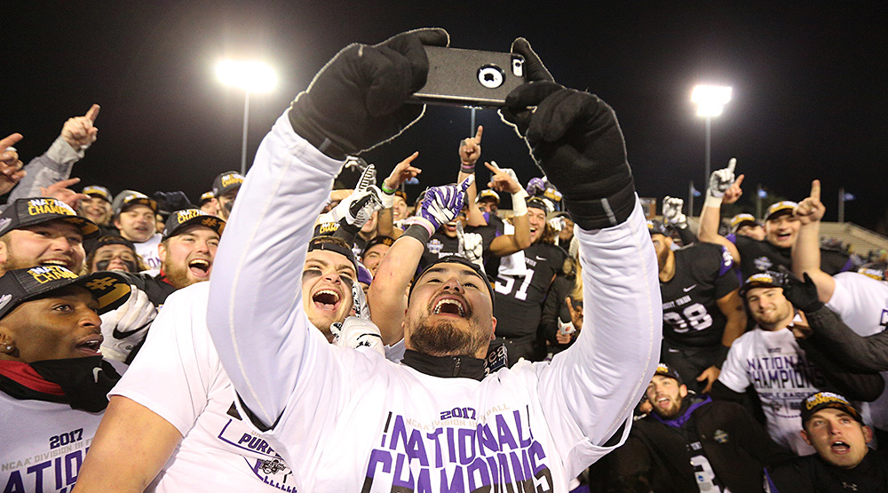 Mount Union player taking a selfie after the game