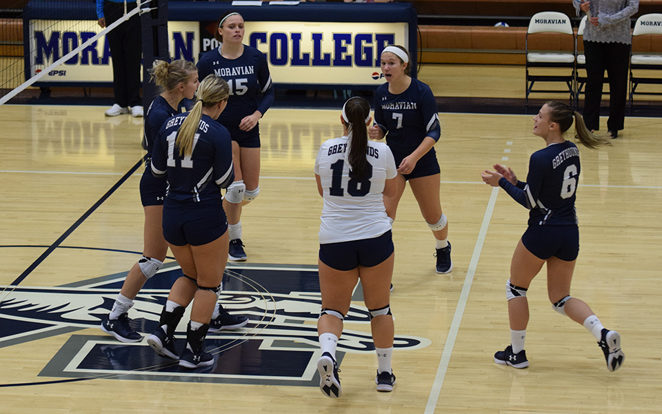 The Greyhounds celebrate a point versus Penn State-Berks in October 2017.