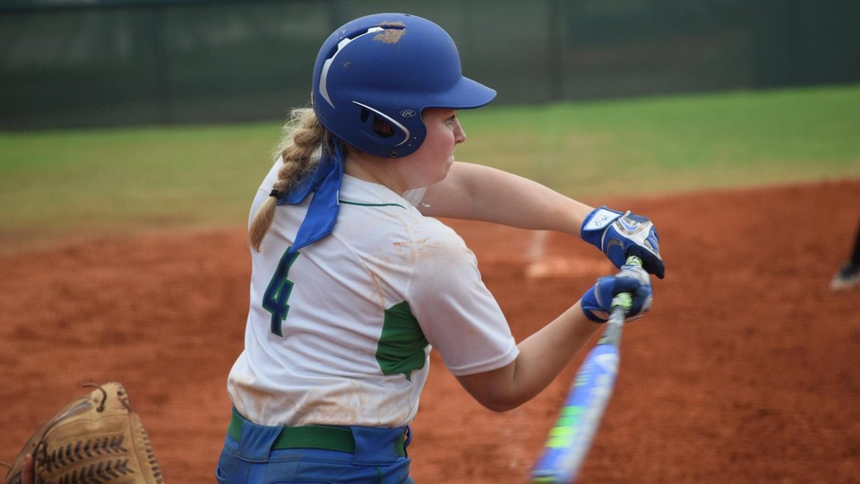 Megan Guest belted her second extra base hit of the season, a double down the left field line, and added three stolen bases in the doubleheader sweep. (Photo by Ed Habershaw)