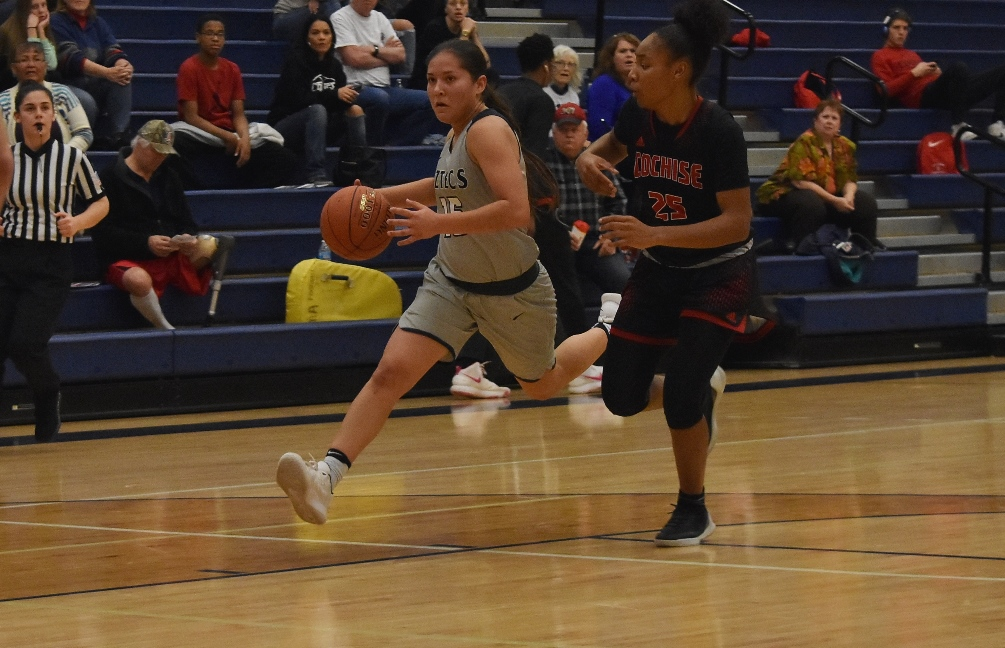 Freshman Alyssa Perez (Marana HS) scored 11 points off the bench but the Aztecs women's basketball team fell to Scottsdale Community College 81-73 on Saturday at the West Campus Gymnasium. The Aztecs are now 4-6 overall and 1-4 in ACCAC conference play. Photo by Ben Carbajal