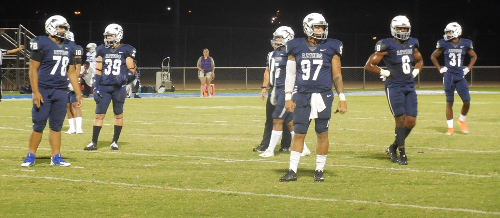 Beau Griego (#39), Monquel Glasow (#97) and Samad Smith (#31) were a few of the Aztecs who made contributions in Pima's 89-0 win over Soul Patrol. Photo by Raympond Suarez