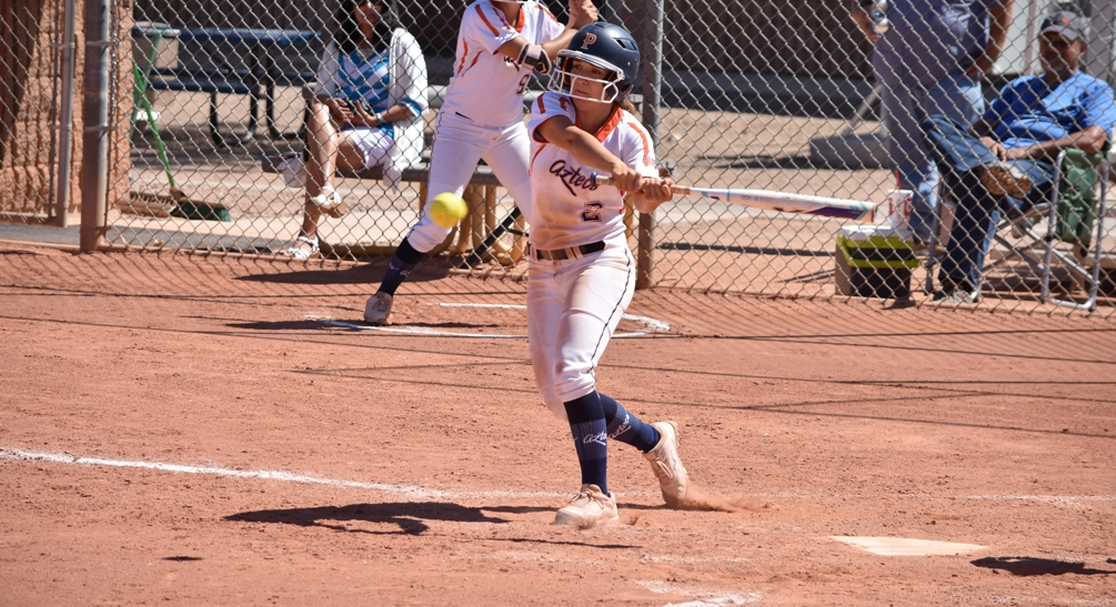 Sophomore Chandler Arviso (Cibola HS) went 3 for 3 with two RBIs and a run scored in her final game for the Pima Aztecs. The Aztecs will missed the Region tournament for the first time in 16 years. They finished the season at 35-23 overall and 26-22 in ACCAC conference play. Photo by Ben Carbajal