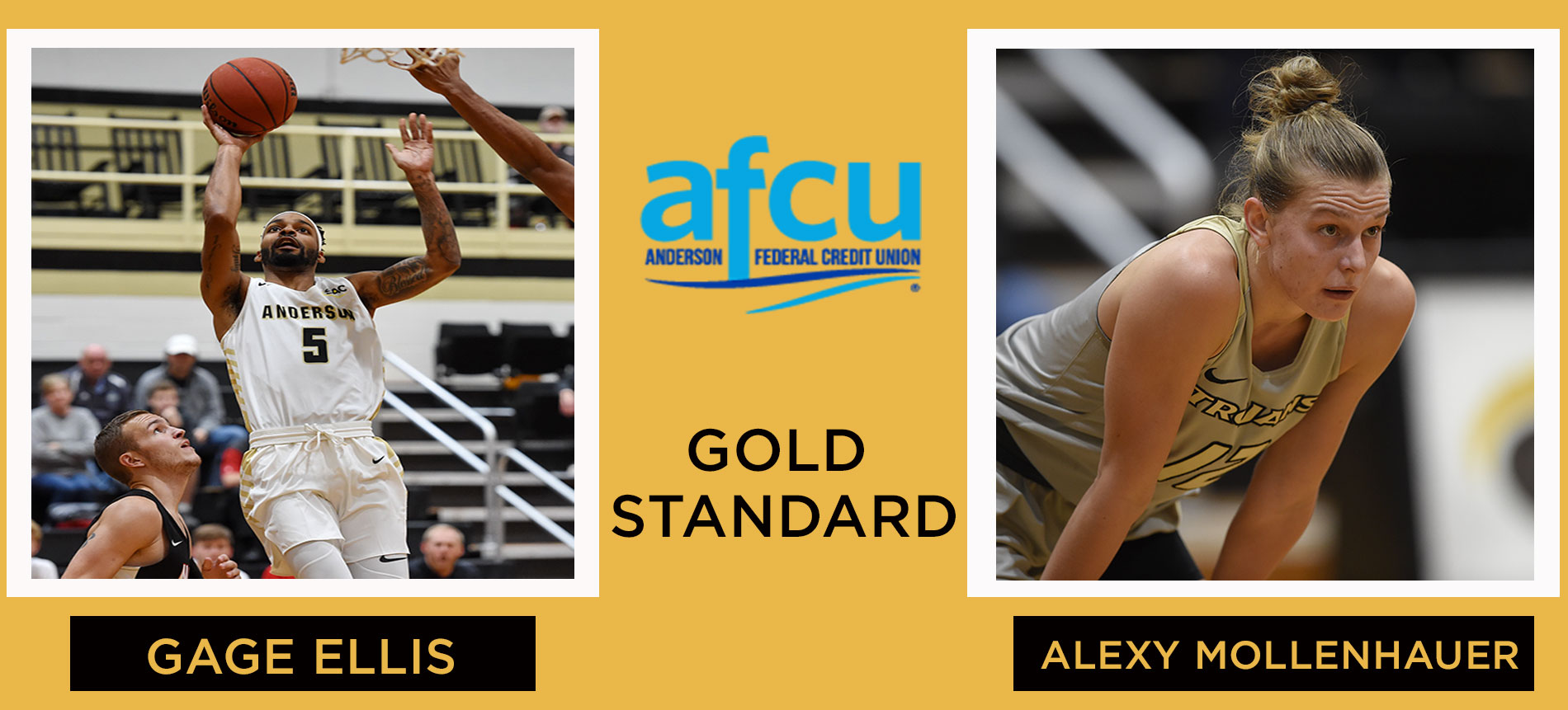 Women's Basketball's Alexy Mollenhauer and Men's Basketball's Gage Ellis Named to the AFCU Gold Standard