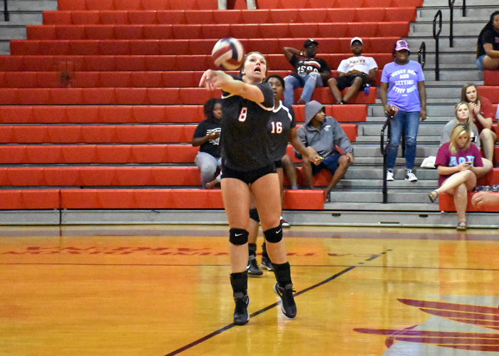 Kalen Morgan recorded 15 kills in Huntingdon's win over Pensacola Christian and loss to Sewanee on Friday.