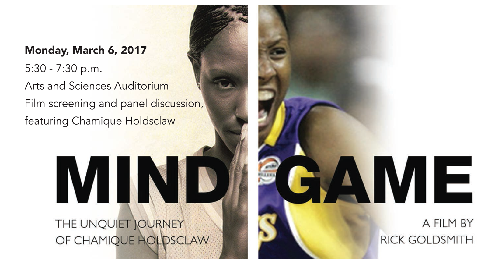 Promotional flyer for Chamique Holdsclaw event