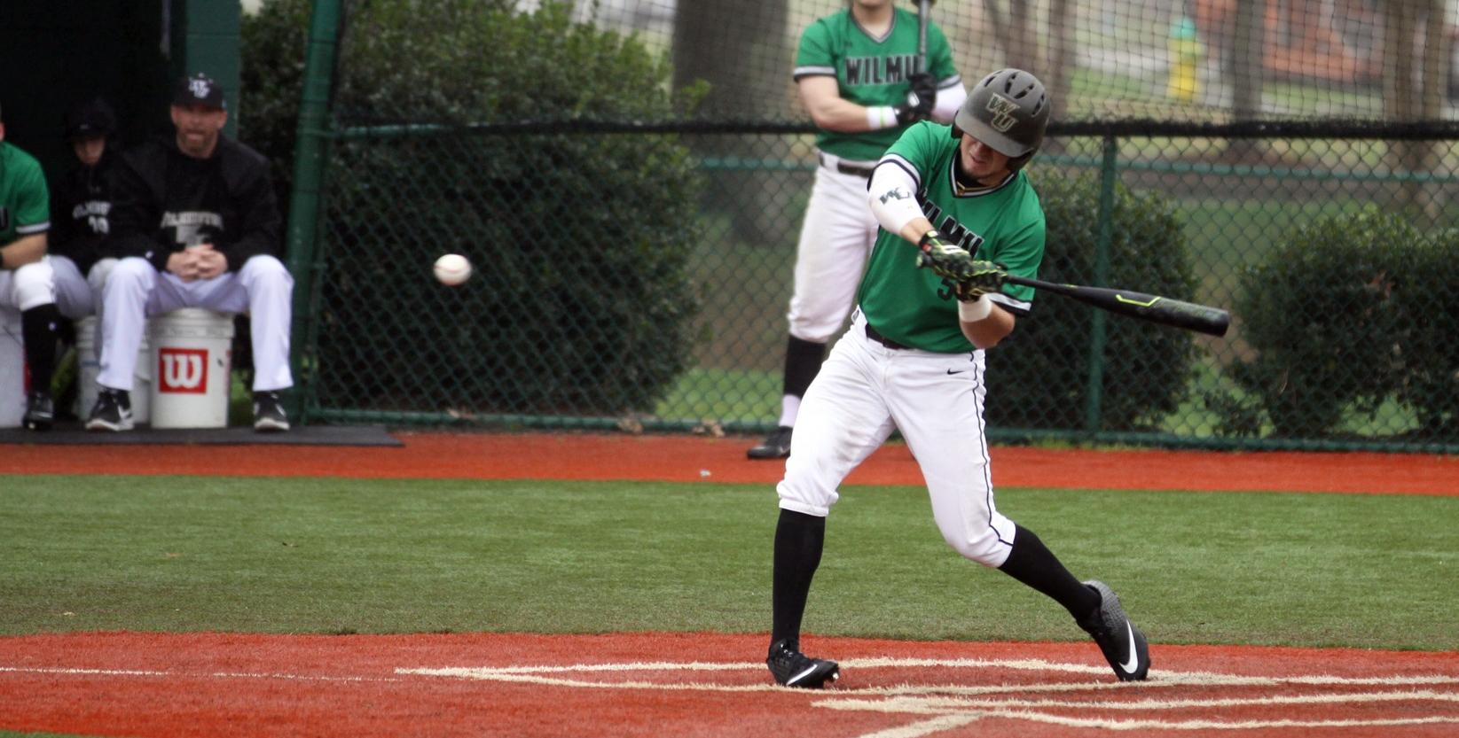 Copyright 2019; Wilmington University. All rights reserved. File photo of Max Carney who batted 4-for-5 against Florida National. Photo by Dan Lauletta. February 22, 2019 vs. Molloy at Myrtle Beach, S.C.