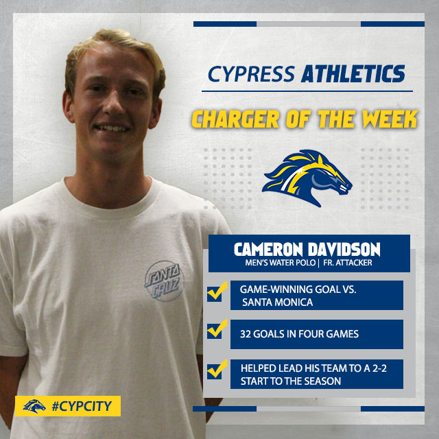 CAMERON DAVIDSON EARNS CHARGER OF THE WEEK (SEPT. 2-8)