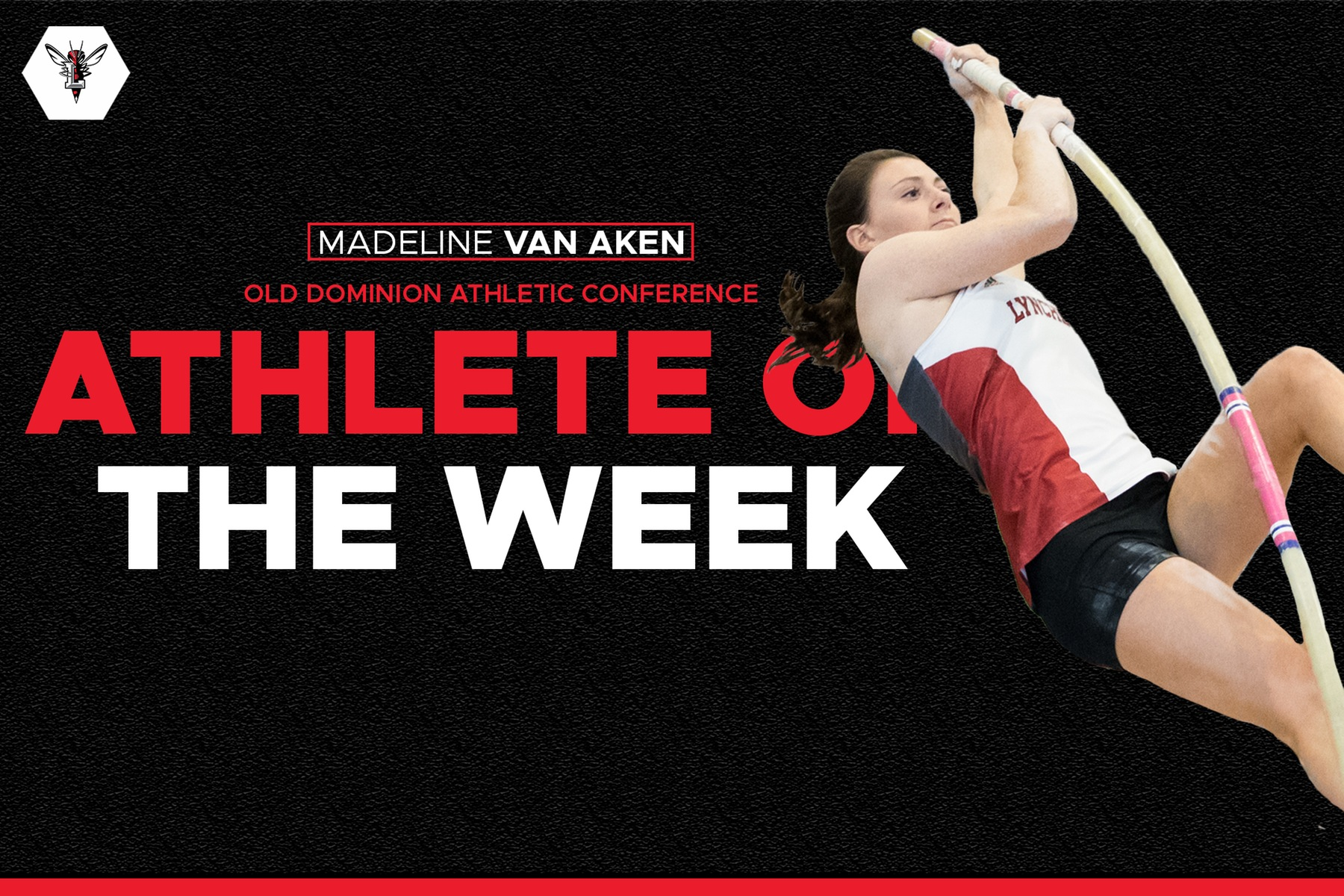 Cutout image of Maddie Van Aken pole vaulting. Text: ODAC athlete of the week