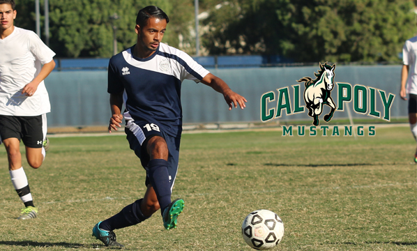 Men's soccer player Jose Rivera suiting up for Cal Poly