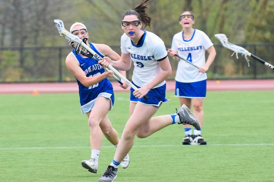 Junior Ellie Chalphin picked-up an assist for the Blue in the 21-5 setback to Bates (Julia Monaco).